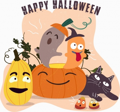 halloween banner funny stylized icons classical design