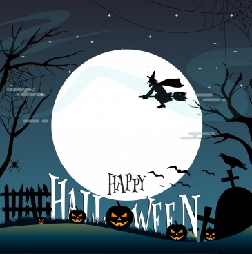 halloween banner moonlight night design cemetery scene