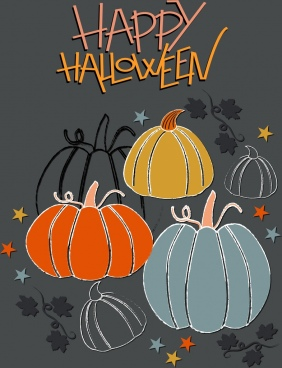 halloween banner pumpkin icons decor handdrawn sketch