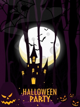 halloween banner purple night backdrop moonlight castle icons