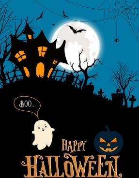 halloween banner scary night scene moonlight cemetery icons