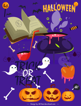 halloween banner scary symbols sketch colorful classic design