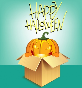 halloween banner template bright pumpkin icon 3d design