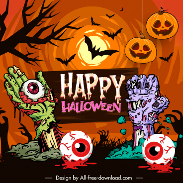 halloween banner template colorful horror elements decor