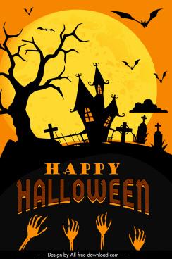 halloween banner template dark moonlight scary elements decor