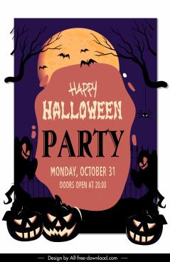 halloween banner template horrible elements decor dark moonnight