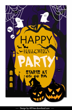 halloween banner template scary night funny ghost sketch