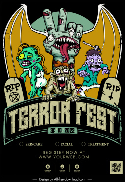 halloween banner template terrible zombie characters sketch
