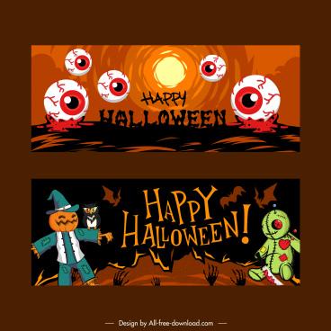 halloween banner templates classic frightening symbols sketch