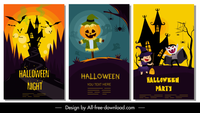 halloween banner templates dark colorful horror decor