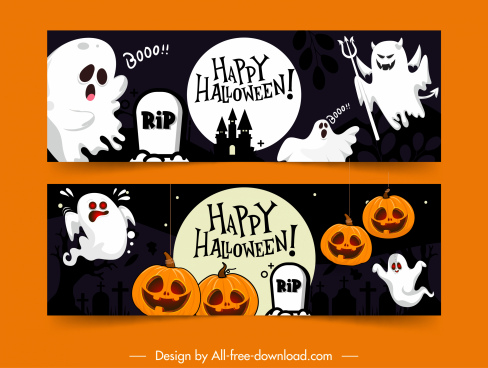 halloween banner templates ghost pumpkins tombs icons decor