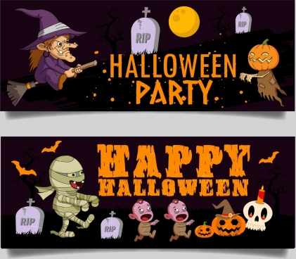 halloween banner templates scary icons colored cartoon characters
