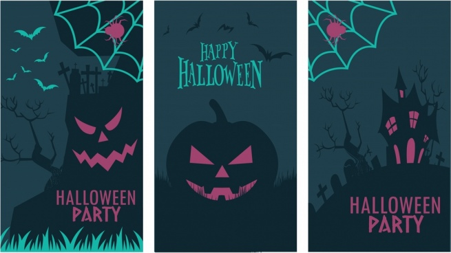 halloween banners templates dark horror design