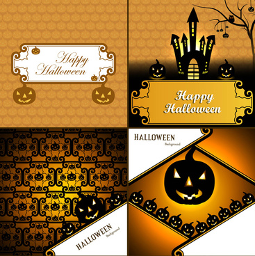 halloween card four collection presentation bright colorful background vector illustration