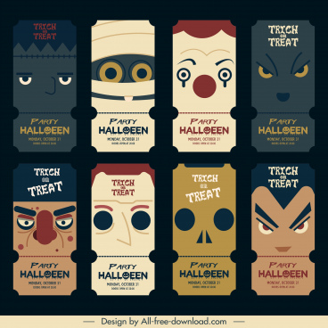 halloween card templates horror faces vertical flat design
