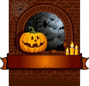 halloween cartoon background 01 vector