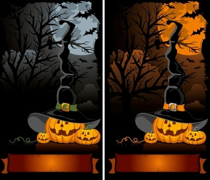 halloween cartoon background 02 vector