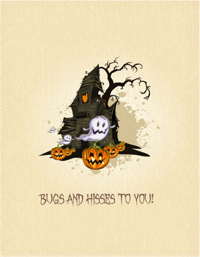 halloween cartoon castle background vector