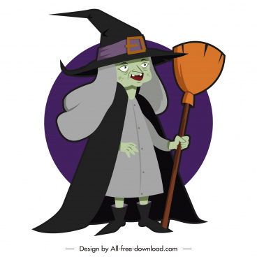 halloween character icon old witch sketch cartoon design