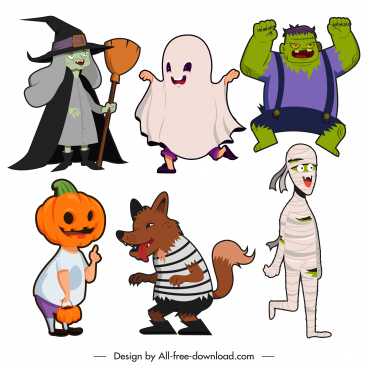 halloween characters icons frightening devil ghost sketch