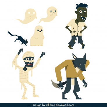 halloween characters icons ghost zombie werewolf mummy sketch