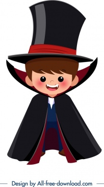 halloween costume template dracula boy icon cartoon character