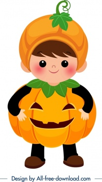 halloween costume template pumpkin clothes cute boy icon