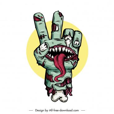 halloween design element frightening decompose hand evil face
