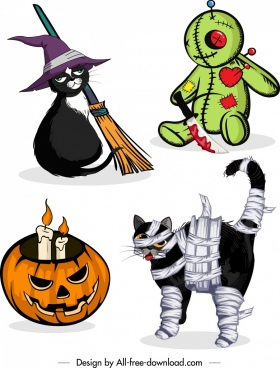 halloween design elements cat bloody toy pumpkin icons