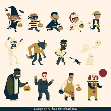 halloween design elements costumed cartoon characters sketch