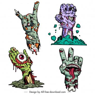 halloween design elements frightening decomposing zombie hands sketch