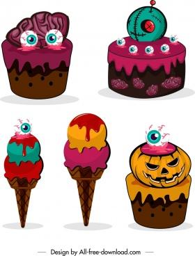 halloween design elements horror cake ice cream icons