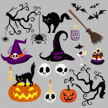 halloween design elements scary objects