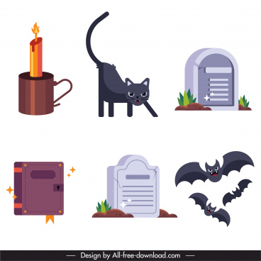 halloween design elements tomb bats cat candle sketch