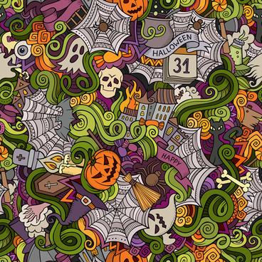 halloween doodle vector seamless pattern