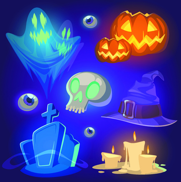 halloween elements icons vector