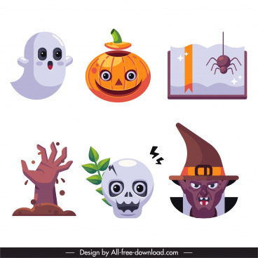 halloween elements scary symbols sketch