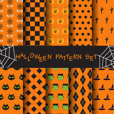 halloween elements seamless pattern vector
