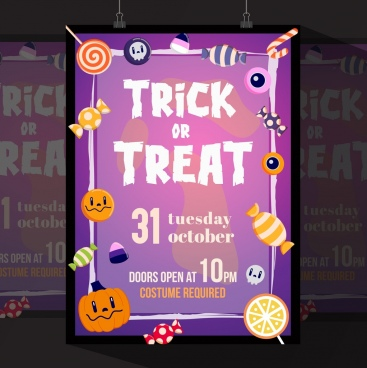 halloween flyer template violet decor candies pumpkins icons
