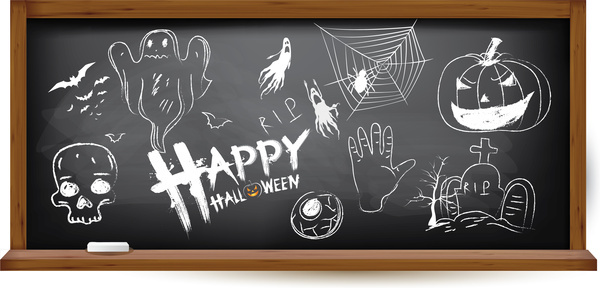 halloween hand drawing doodles on black chalkboard