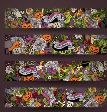 halloween hand drawing illustration vector banner