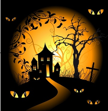 halloween background cat eyes tombs trees black decor