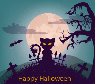 halloween horror night vector background