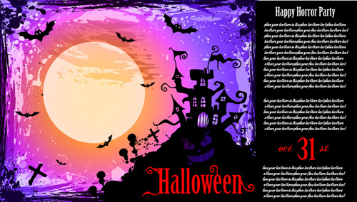 halloween horror party poster vector