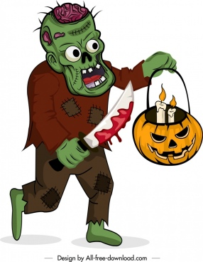 halloween icon scary zombie pumpkin lantern decor