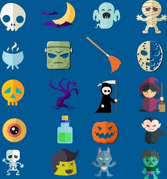 halloween icons collection with various types