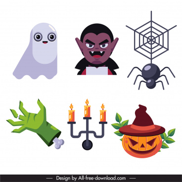 halloween icons colored classic symbols sketch
