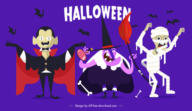 halloween icons elements dracula witch mummy bats sketch