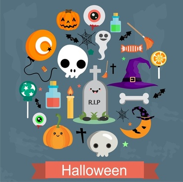 halloween icons illustration with symbols arranged in circle