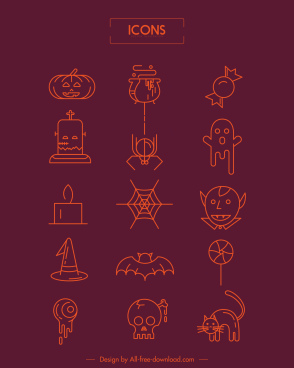 halloween icons scary objects flat sketch